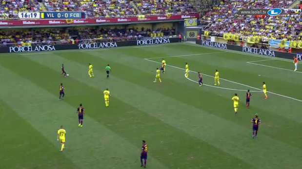 Barcelona's positioning in possession.