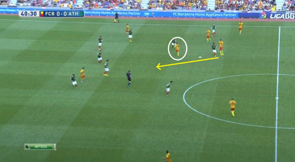 Messi dropping deeper and played through Bilbao's midfield.