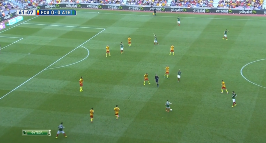 Bilbao opting to keep the ball rather than continue trying long diagonals.