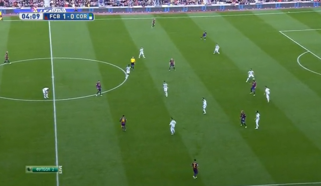Messi in central midfield.
