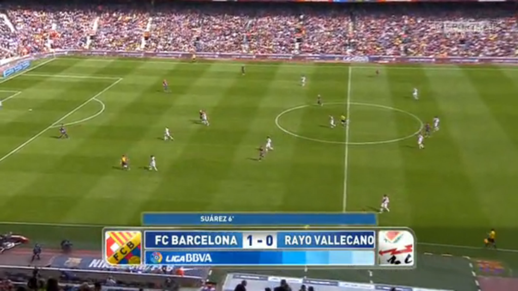 The general shapes during the match. Notice Rayo pressing high in a sort of 4-2-4.