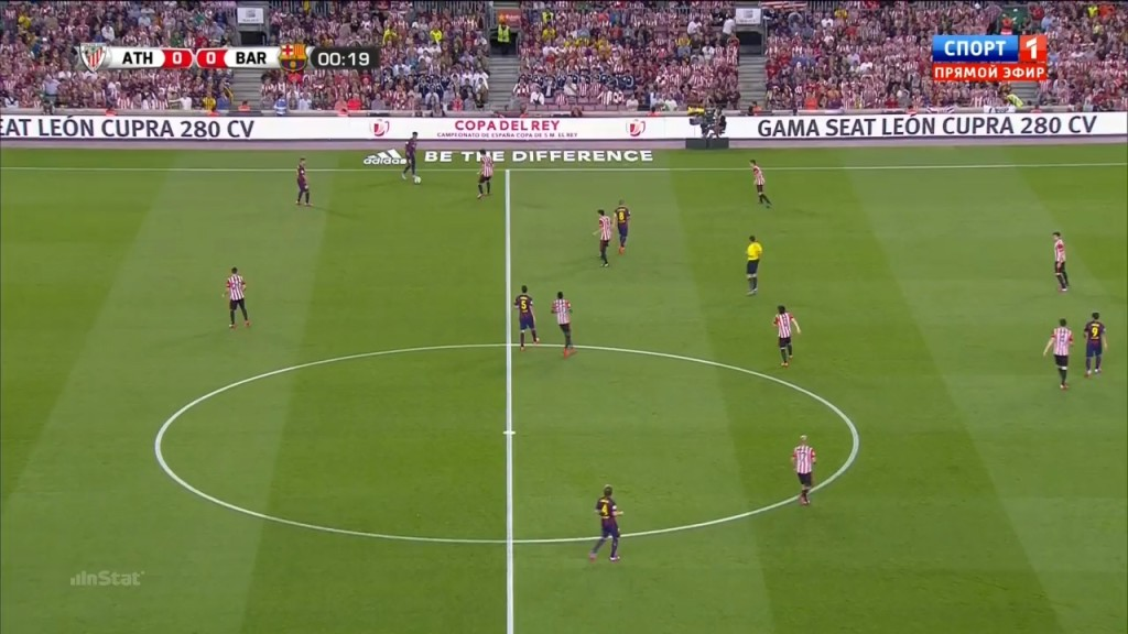 Athletic Club players get tight to the Barcelona players when pressing against the sideline.