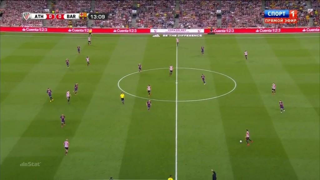 Athletic in attack. Notice How Busquets has positioned himself!