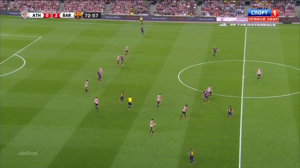 The situation leading up to the third goal. Xavi manipulating the Athletic defense.