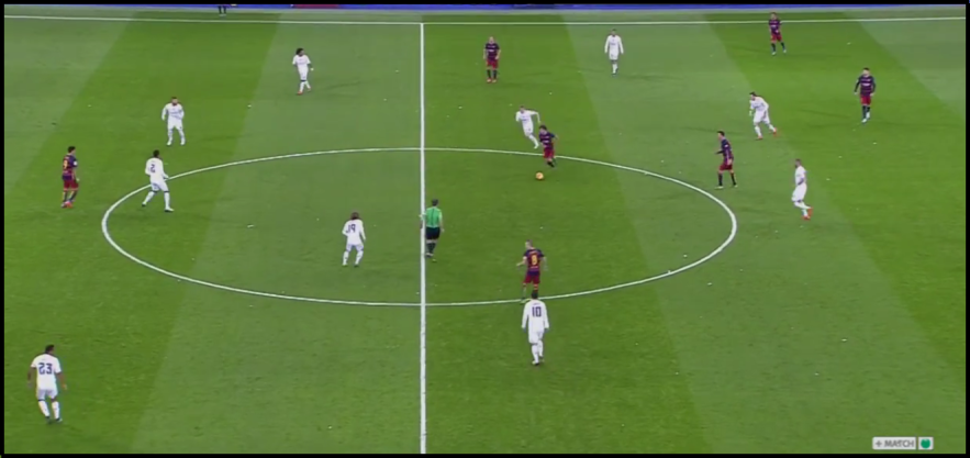 Real Madrid generally formed a 4-4-2 without possession