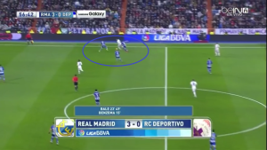 Bale isolated after a pass from Carvajal before a switch of play