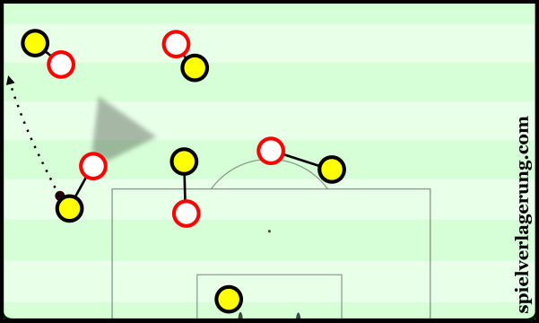 Schmelzer makes an inaccurate pass out of play under pressure from Stuttgart.