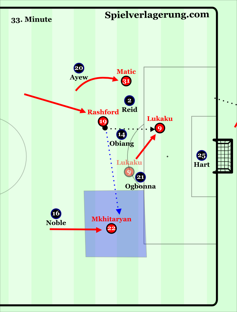 Lukaku's run also opened the switch to Mkhitaryan in the far half space